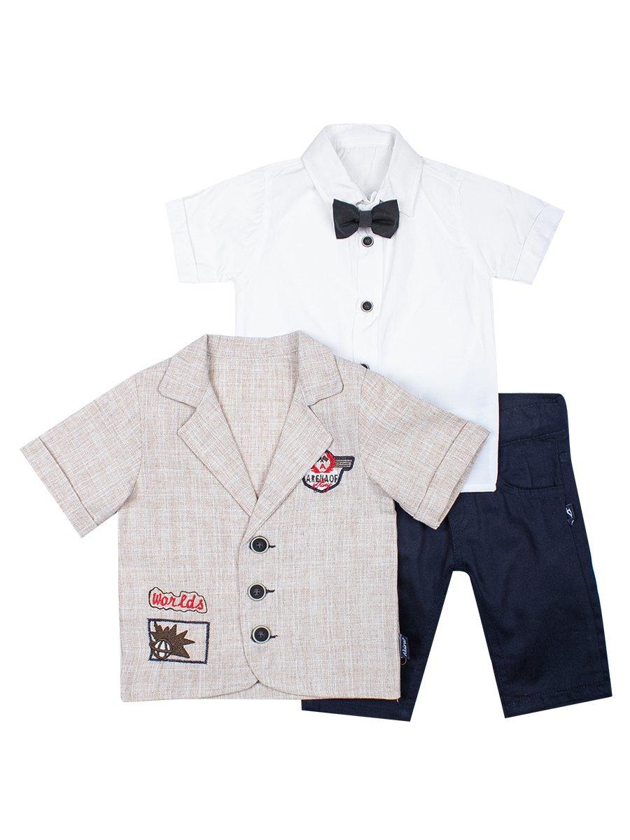Комплект для мальчика: рубашка с бабочкой, штанишки и пиджак-рубашка, цвет: бежевый
