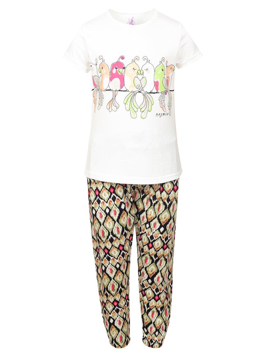 Комплект:футболка и брюки, цвет: оливковый