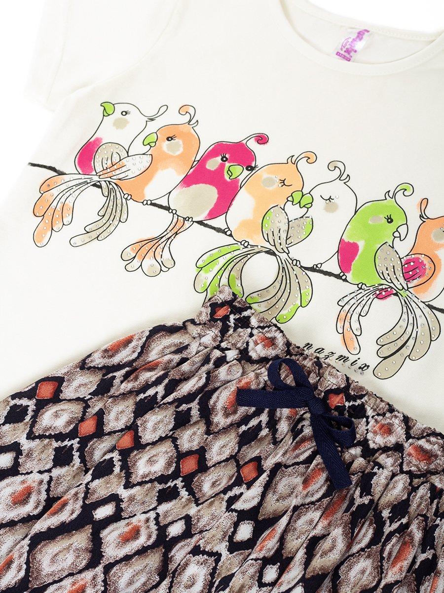 Комплект:футболка и брюки, цвет: коричневый
