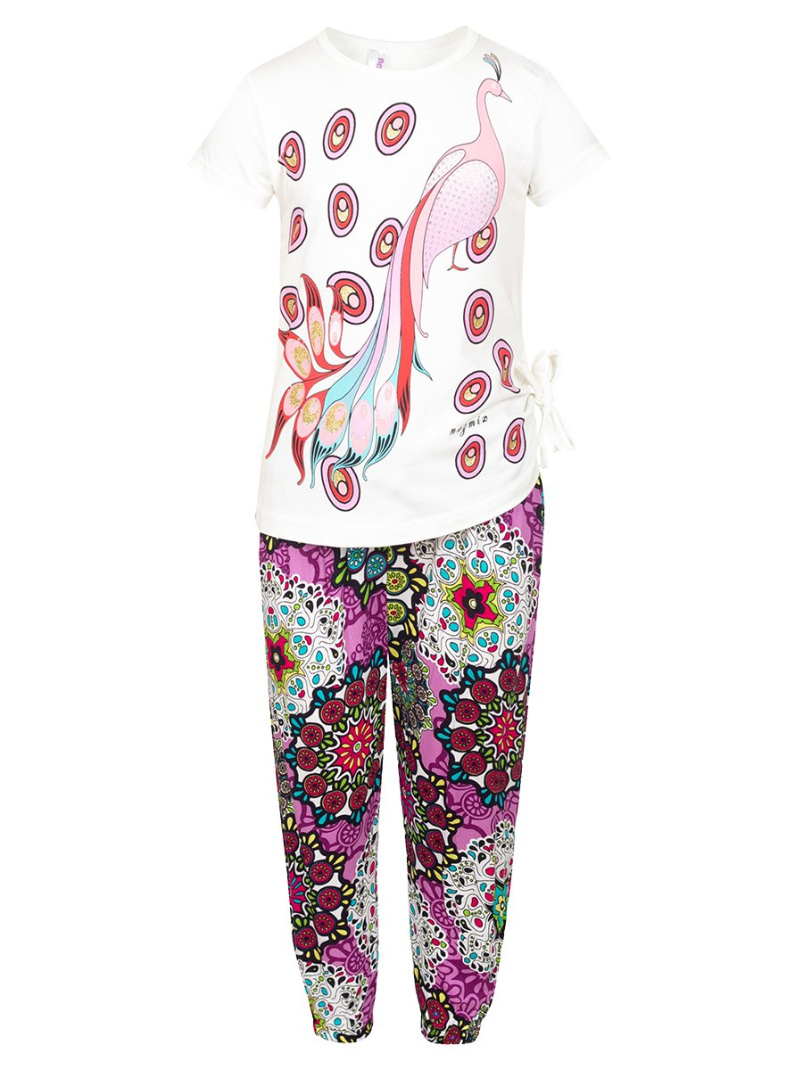 Комплект:футболка и брюки, цвет: фиолетовый