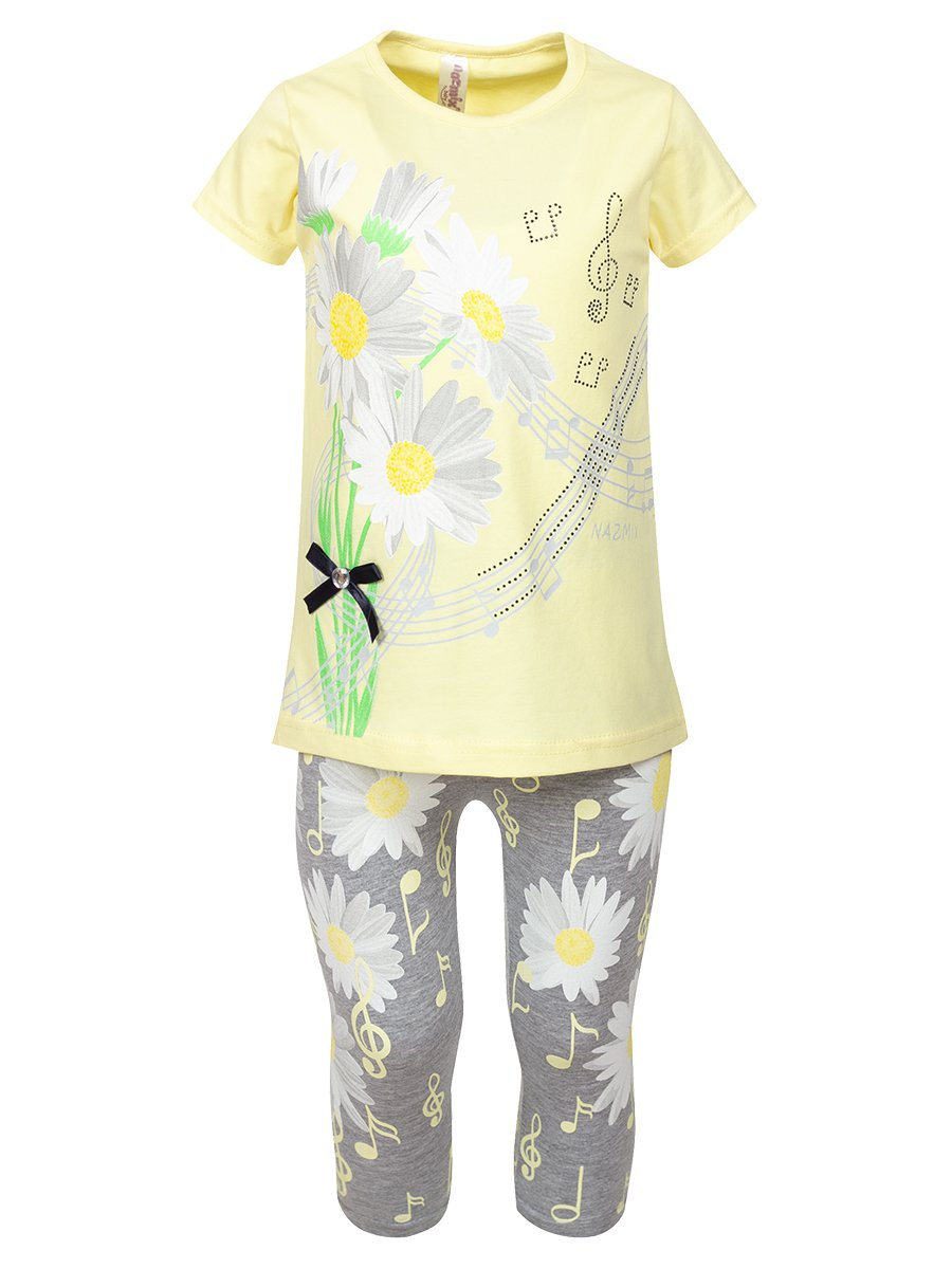 Комплект:футболка и лосины, цвет: желтый