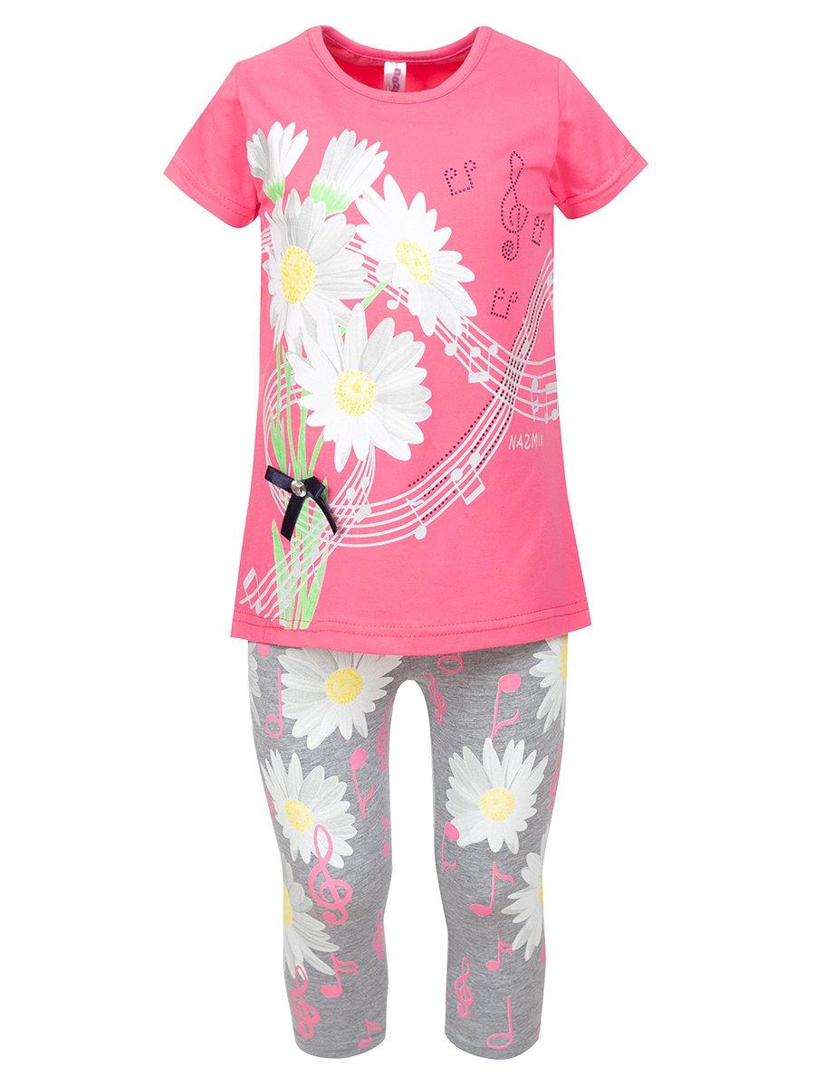 Комплект:футболка и лосины, цвет: розовый