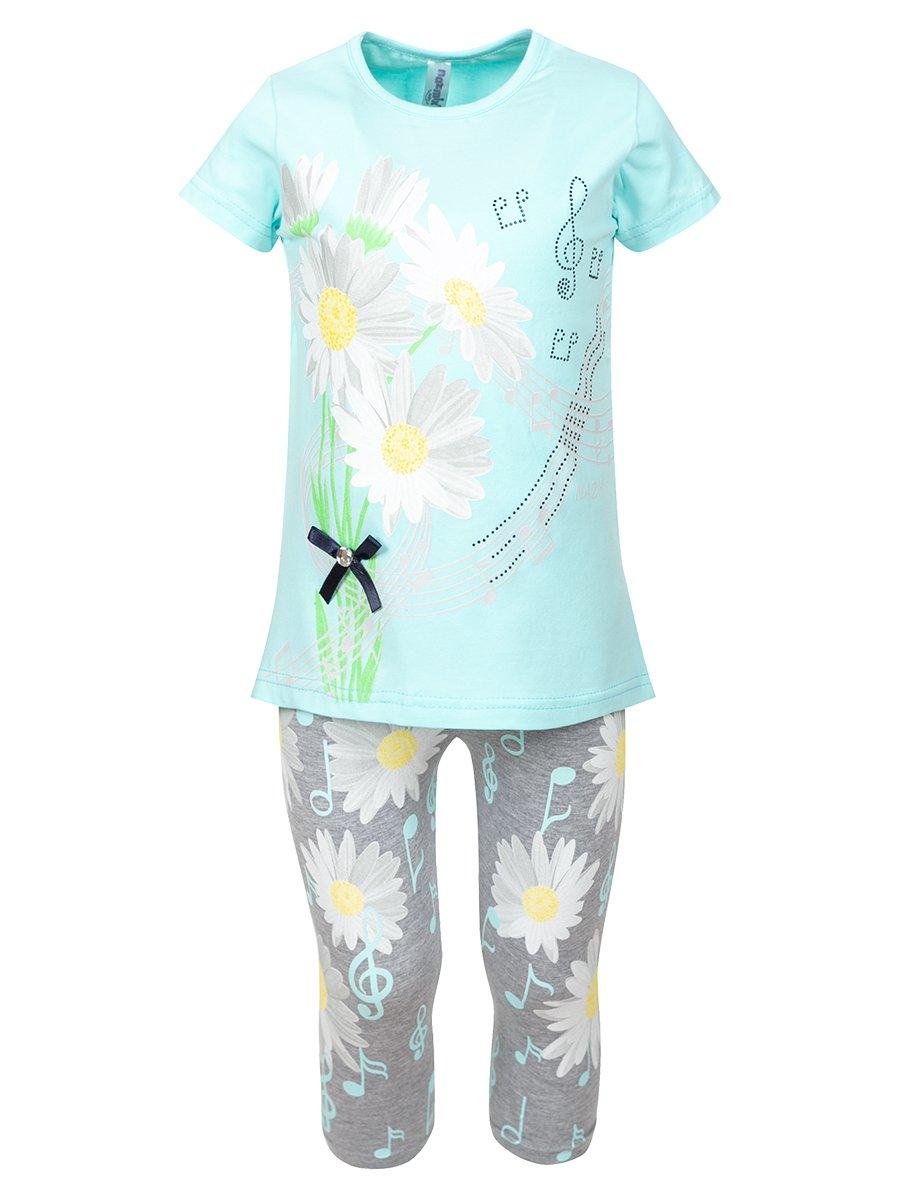Комплект:футболка и лосины, цвет: мятный