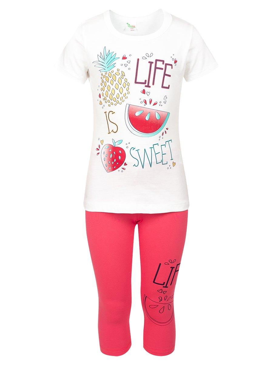 Комплект:футболка и лосины, цвет: молочный