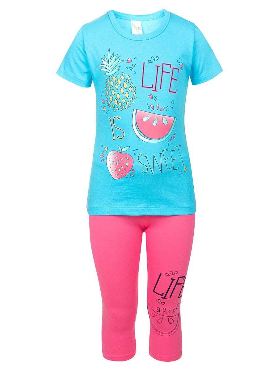 Комплект:футболка и лосины, цвет: бирюзовый