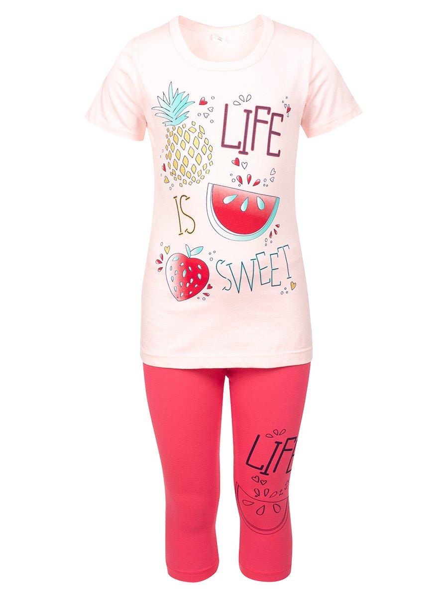 Комплект:футболка и лосины, цвет: пудра