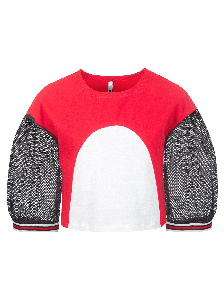 Блуза (лонгслив) из кулирки с лайкрой и сетки, цвет: красный