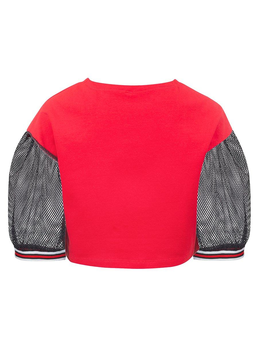 Блуза (лонгслив) из кулирки с лайкрой и сетки