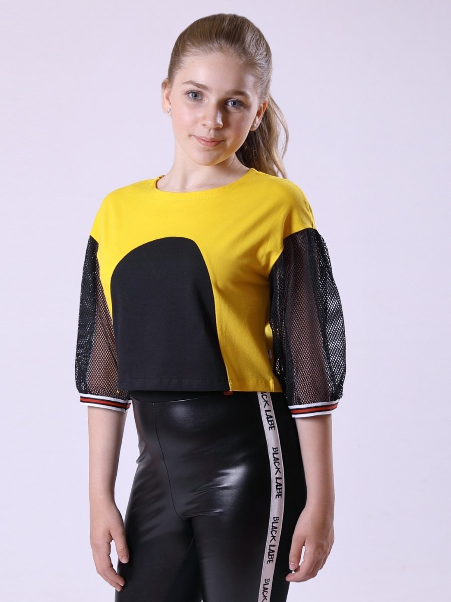 Блуза (лонгслив) из кулирки с лайкрой и сетки, цвет: желтый