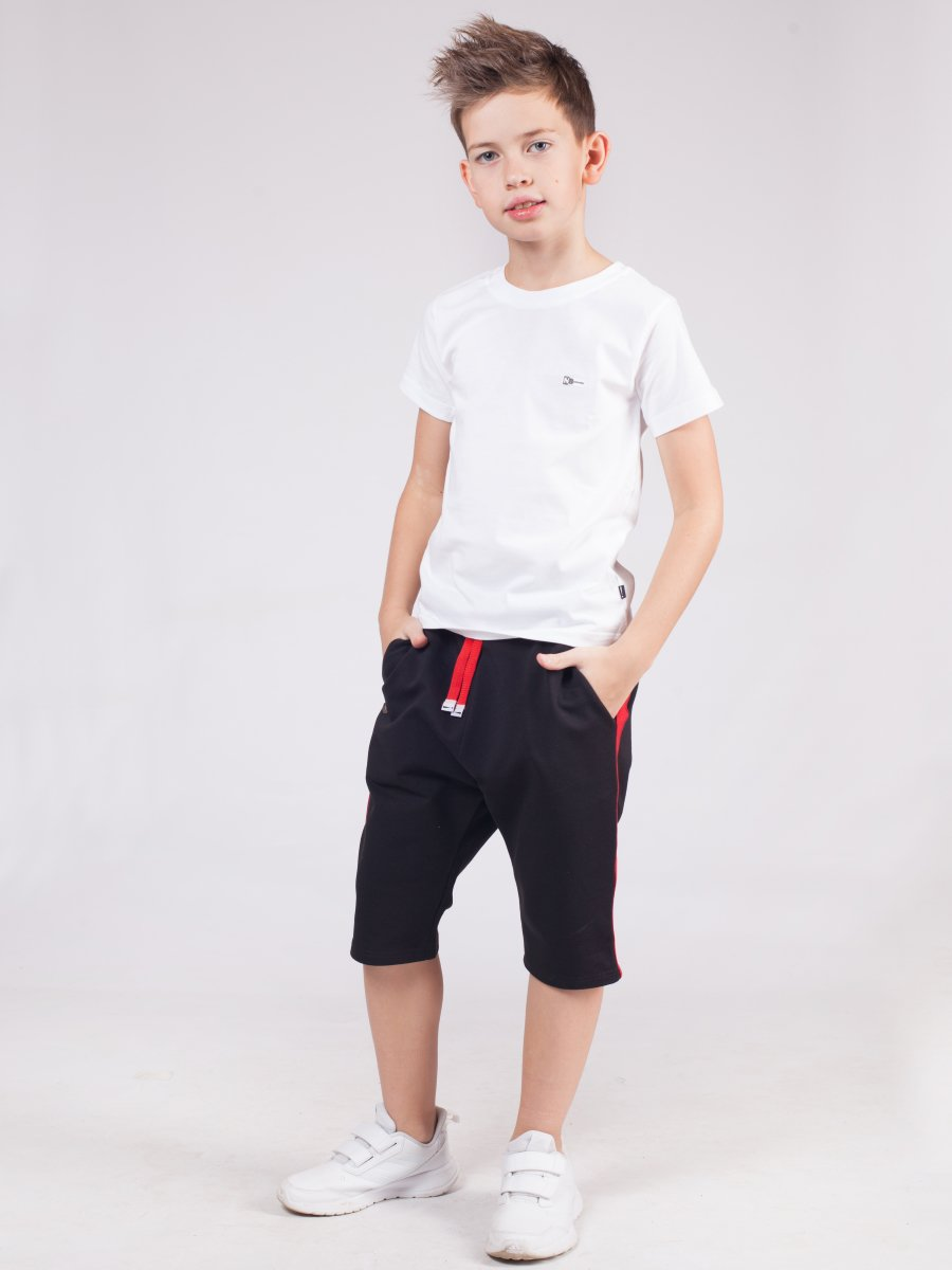 Бриджи для мальчика из футера 2-х нитка, цвет: черный
