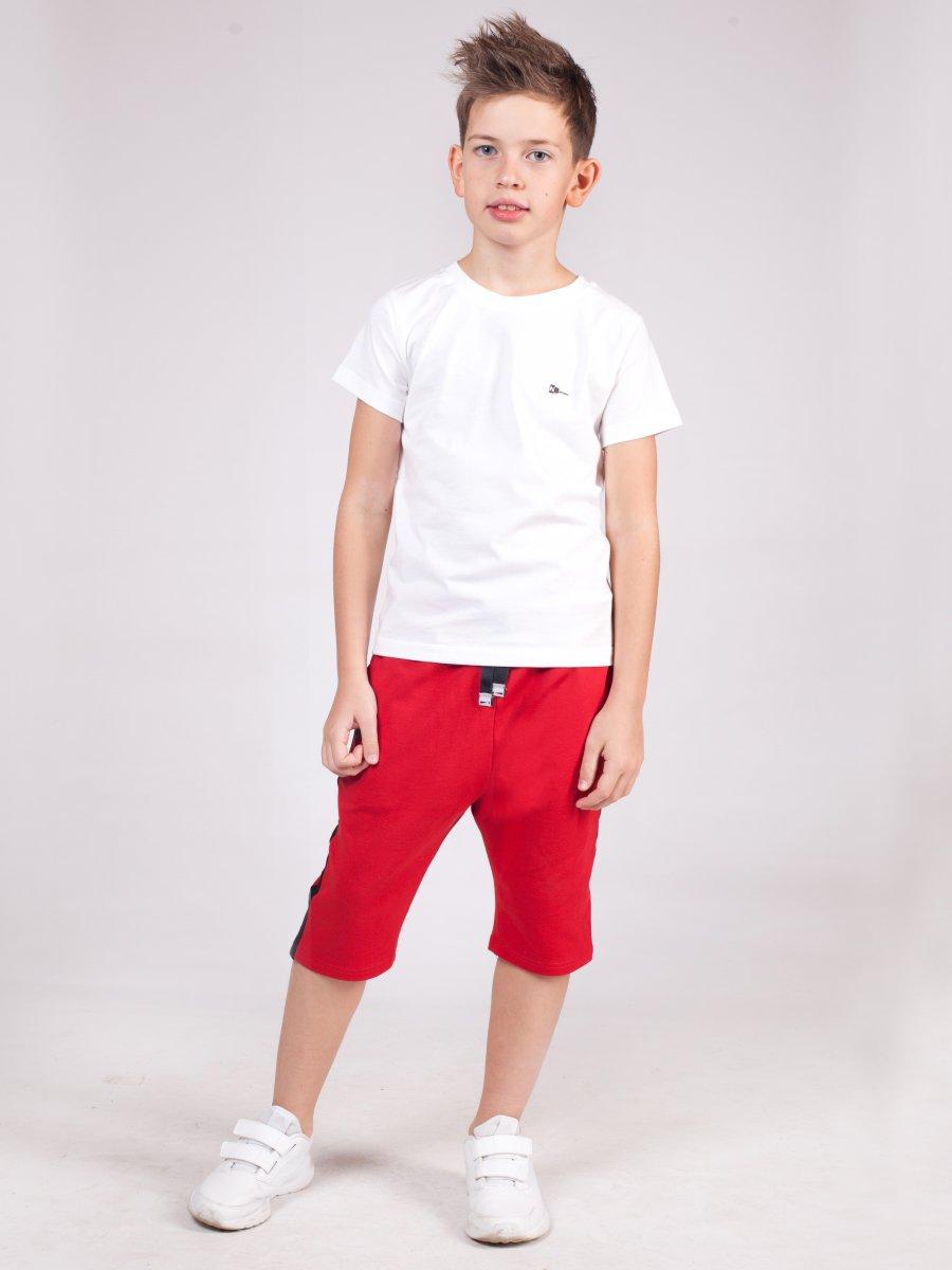 Бриджи для мальчика из футера 2-х нитка, цвет: красный