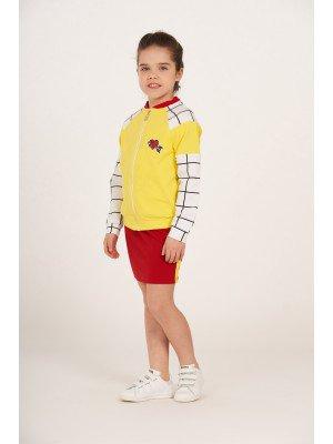 Комплект для девочки из футера 2-х нитка (бомбер+юбка)