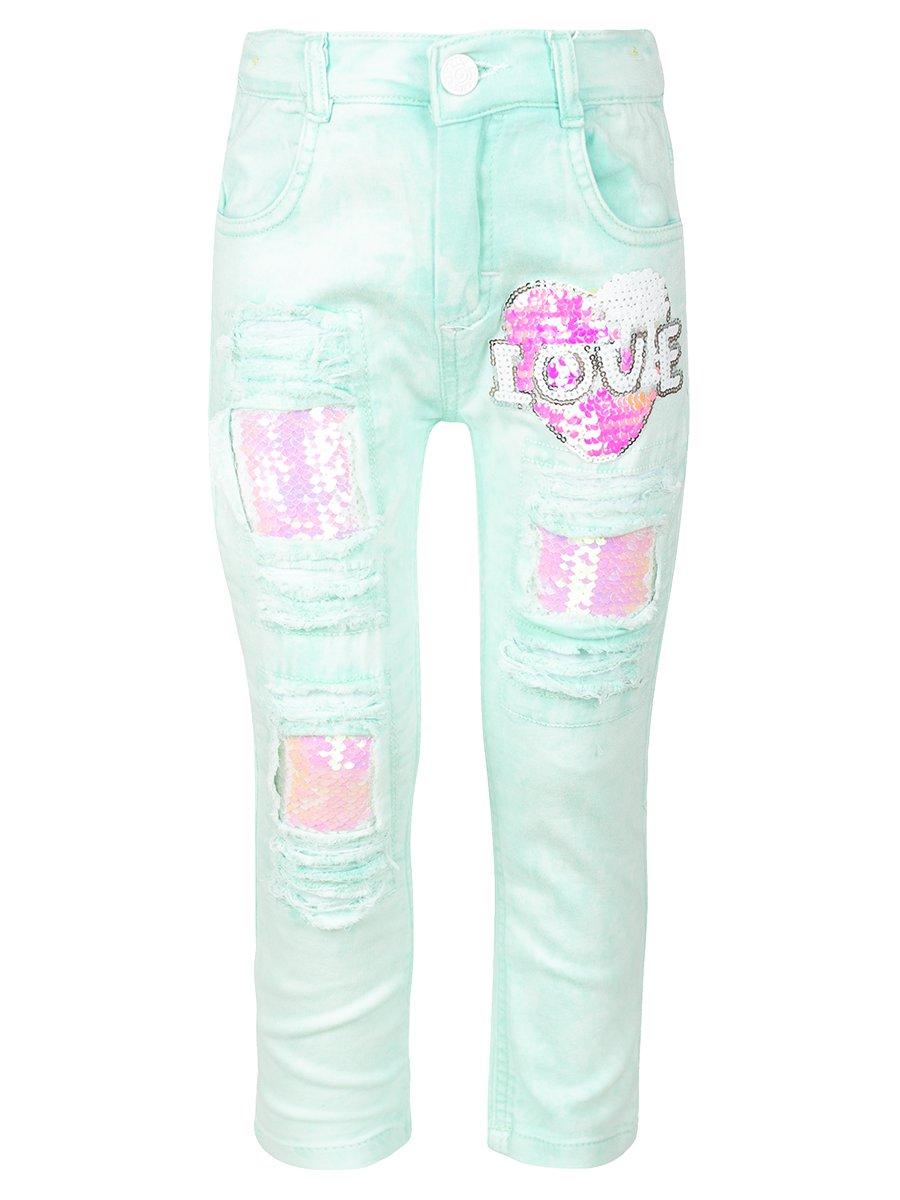Брюки джинсовые для девочки, цвет: мятный