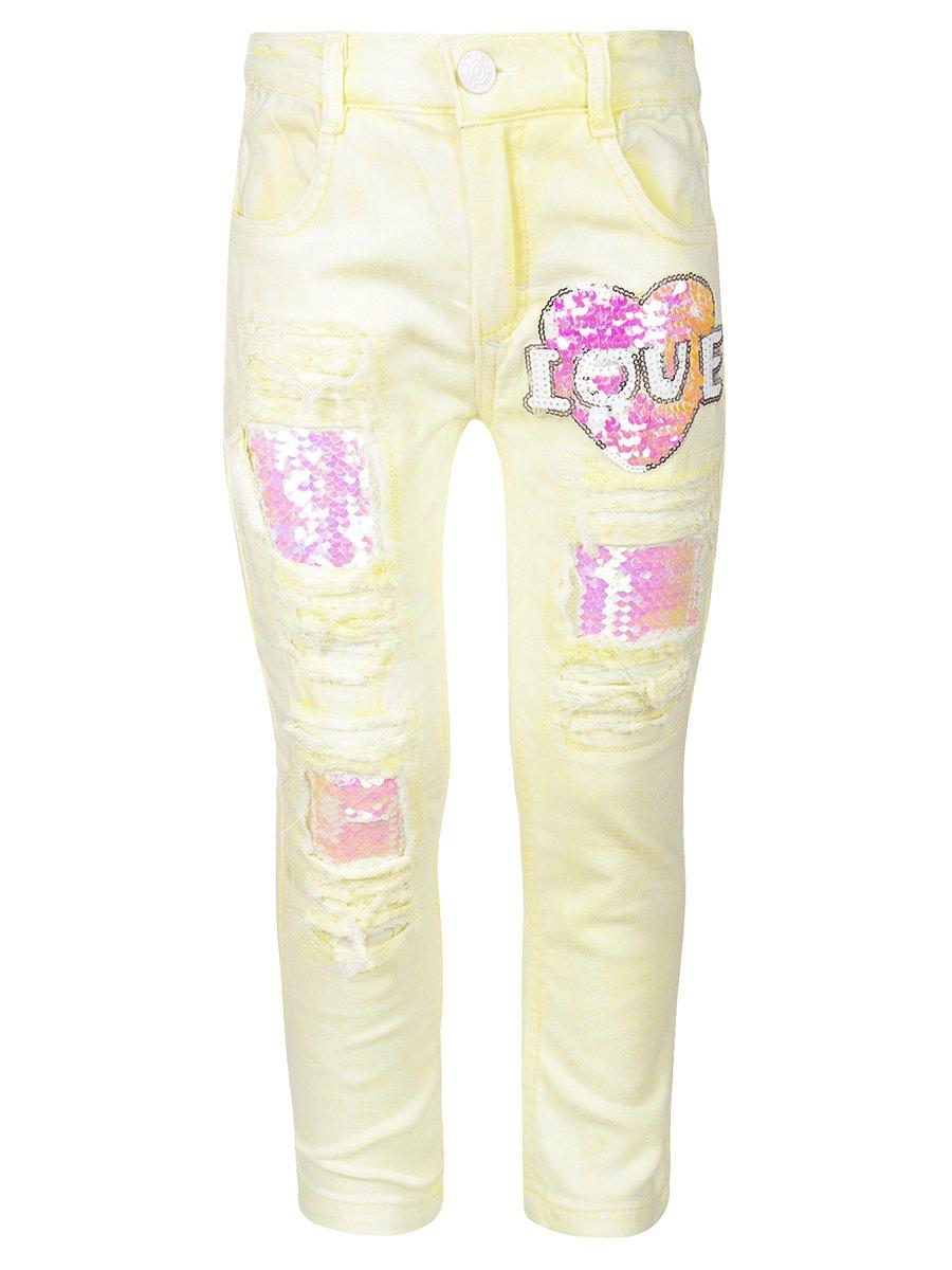 Брюки джинсовые для девочки, цвет: лимонный