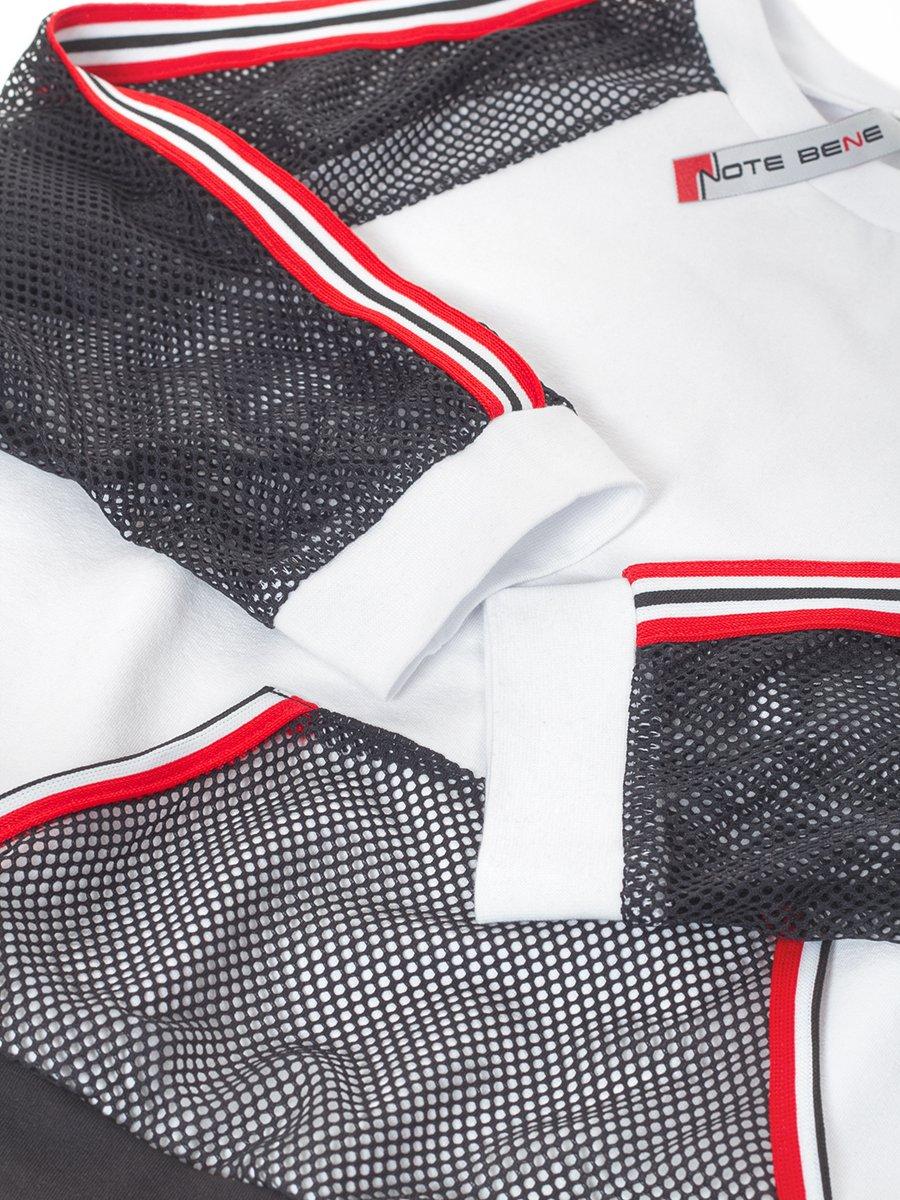 Блуза (лонгслив) из кулирки с лайкрой и сетки, цвет: белый