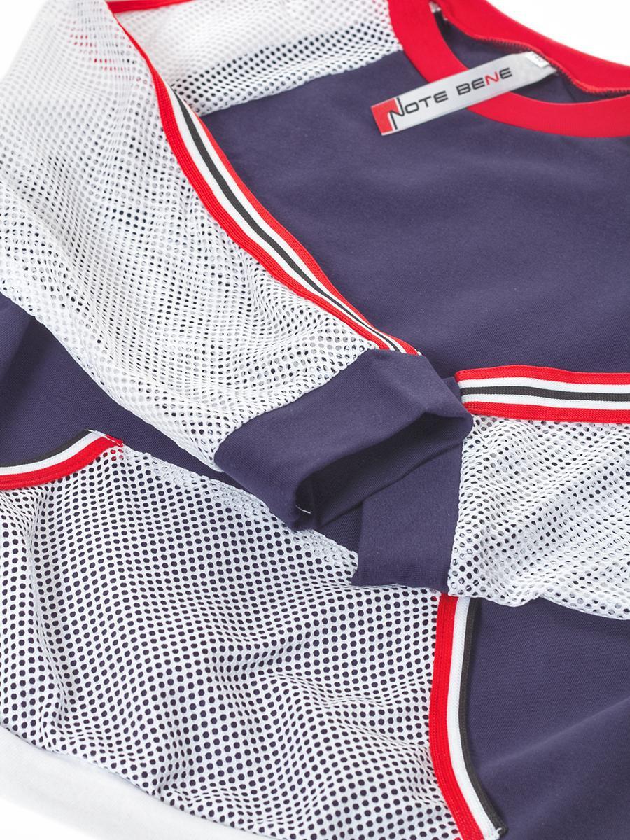 Блуза (лонгслив) из кулирки с лайкрой и сетки, цвет: синий