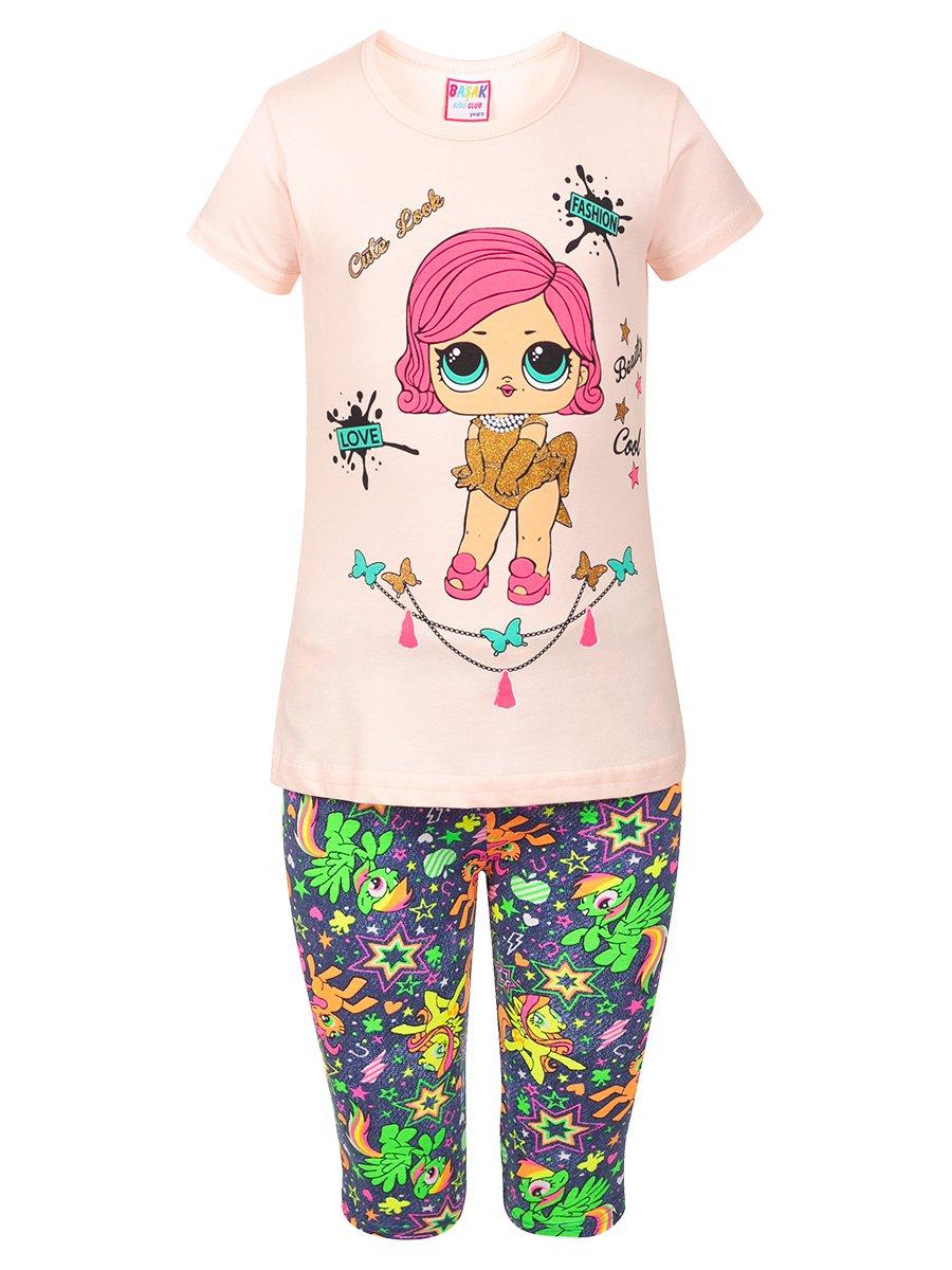 Комплект:футболка и капри, цвет: пудра