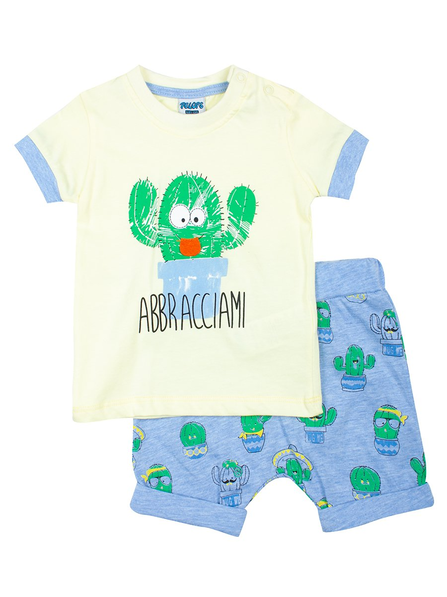 Комплект для мальчика: футболка и шорты, цвет: лимонный