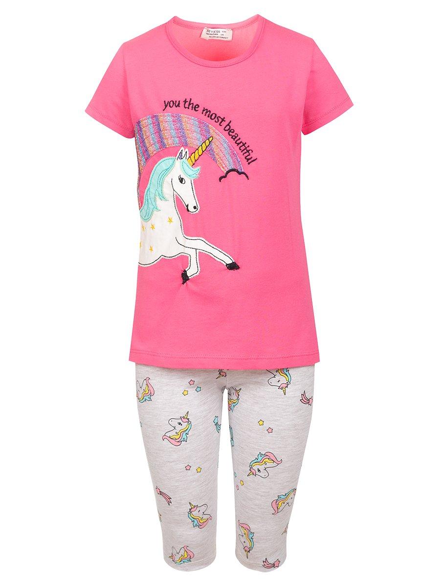Комплект:футболка и шорты, цвет: розовый