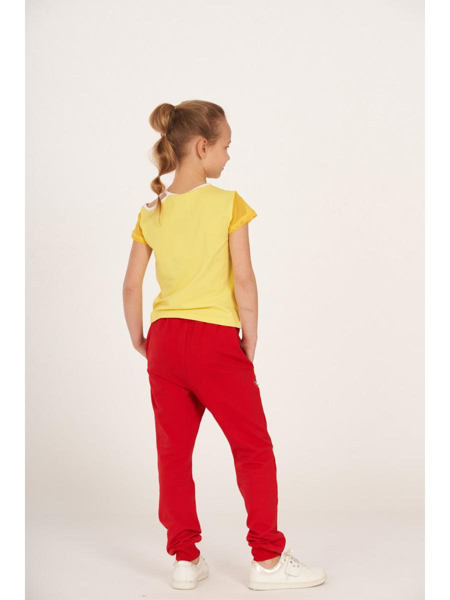 Брюки из футера 2-х нитки и вставками на коленке, цвет: красный
