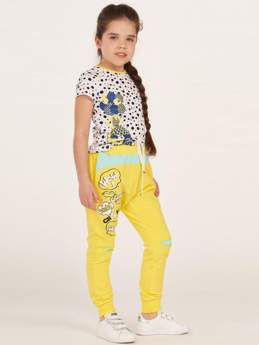 Брюки из футера 2-х нитки и вставками на коленке, цвет: желтый