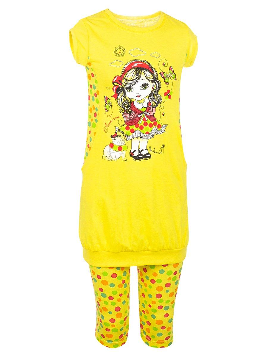 Комплект для девочки: туника и капри, цвет: желтый