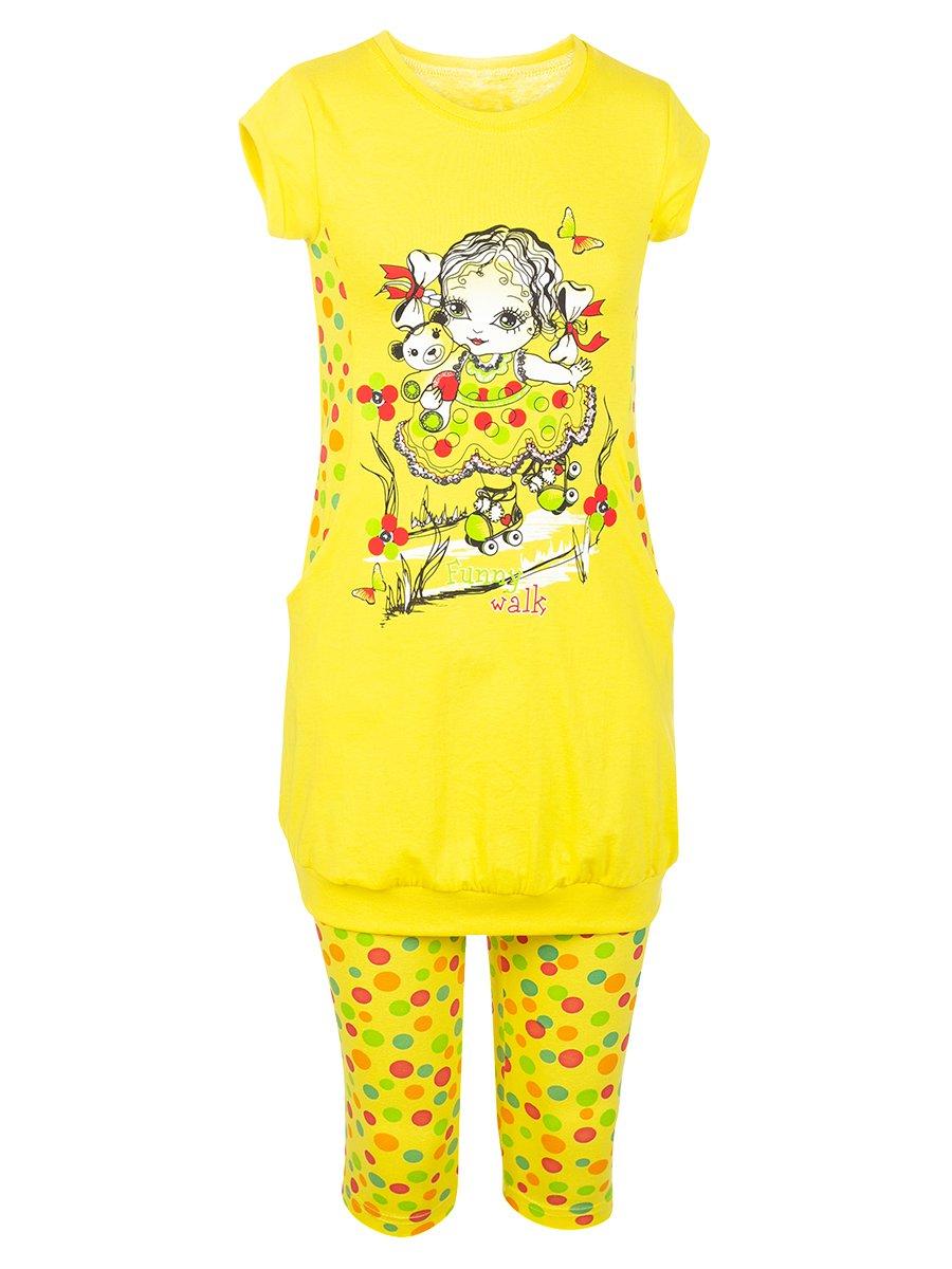 Комплект для девочки: туника и капри, цвет: лимонный