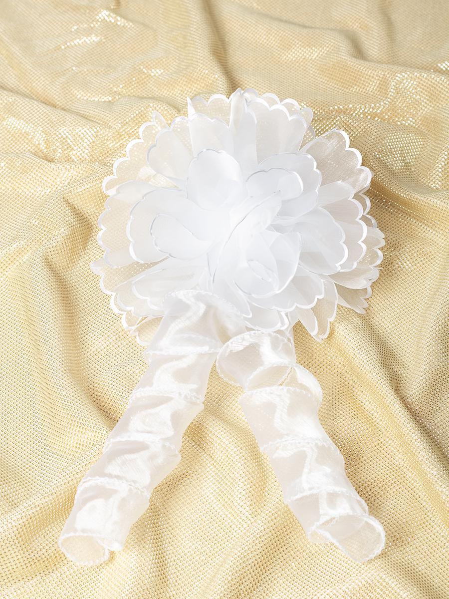 Бант-резинка с локоном, цвет: белый