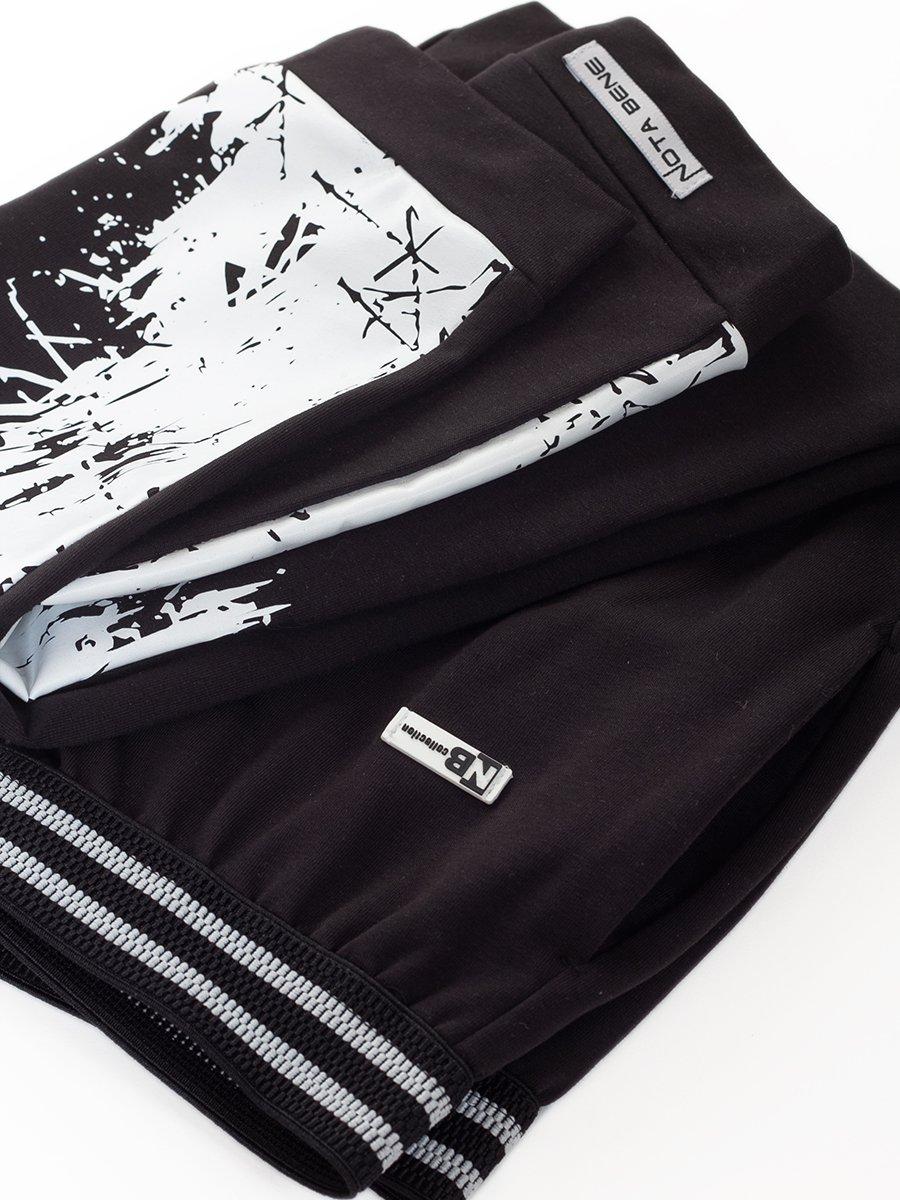Брюки джоггеры зауженные по низу на манжете для мальчика, цвет: черный