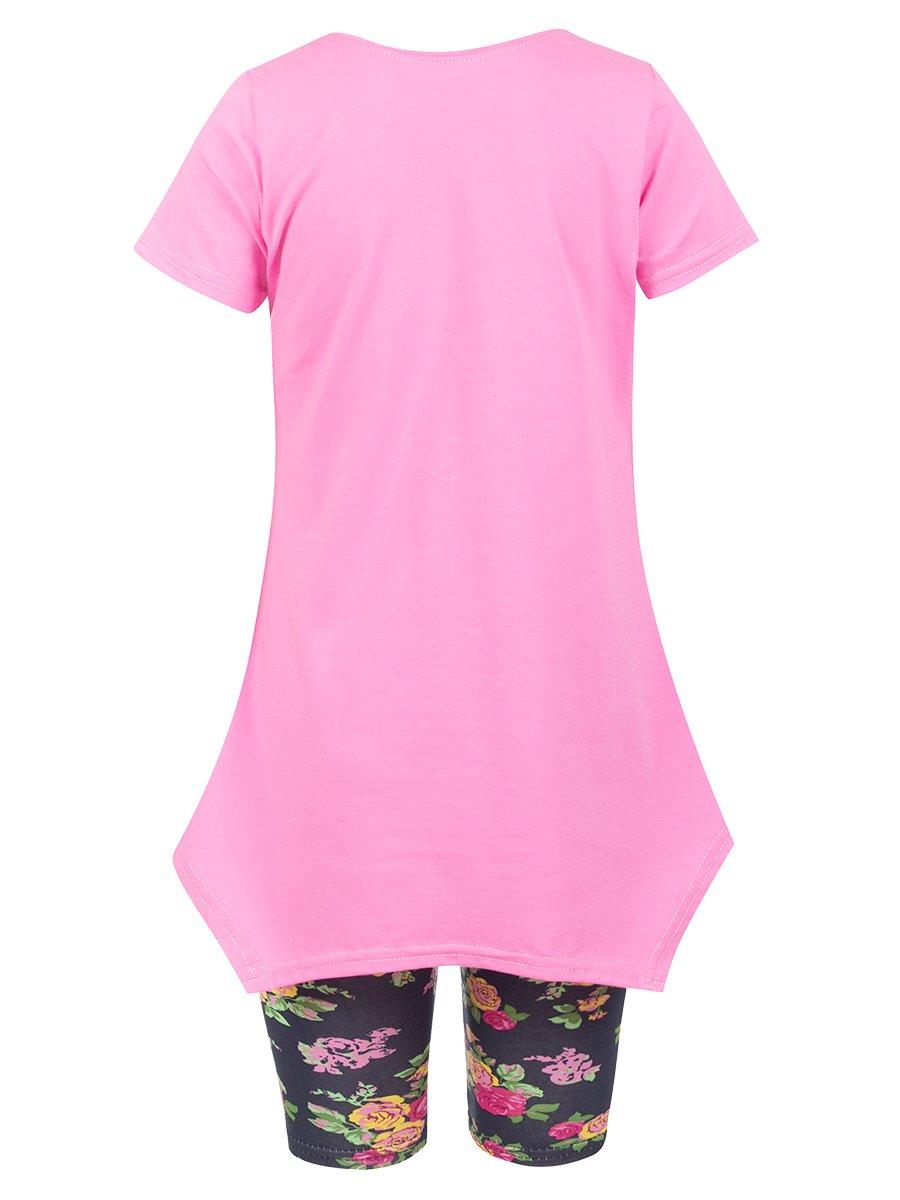 Комплект для девочки: туника и капри, цвет: розовый