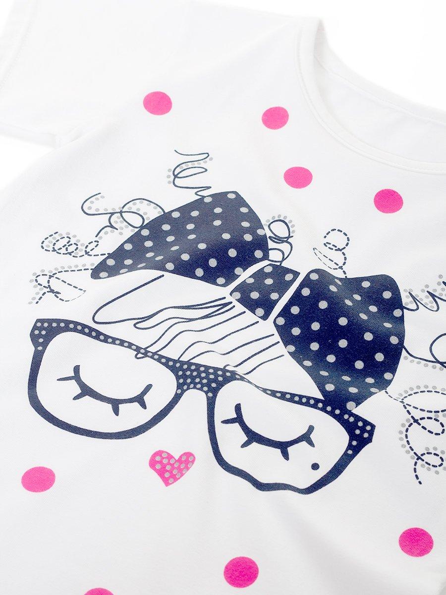 Комплект для девочки: футболка и шорты, цвет: белый