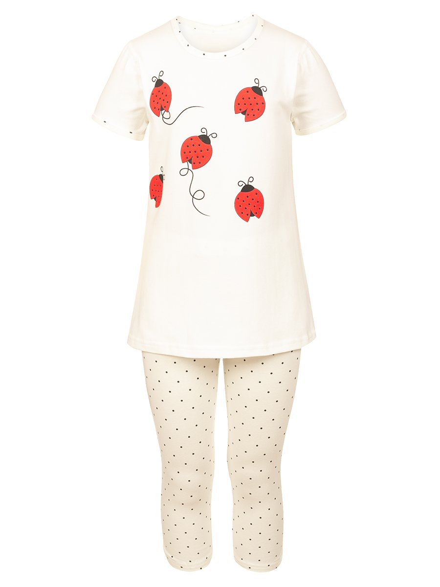 Комплект:футболка и капри, цвет: молочный