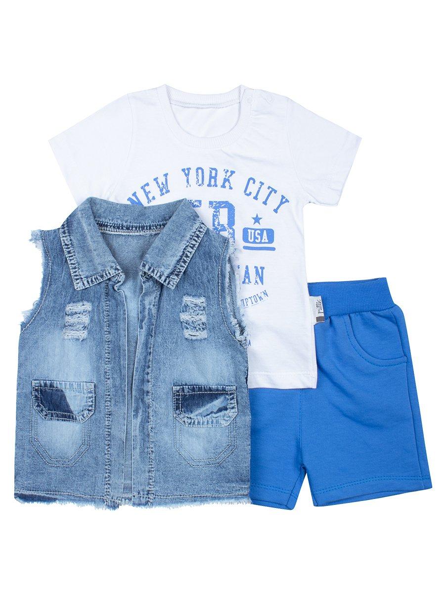 Комплект для мальчика: футболка, шорты и джинсовый жилет, цвет: синий