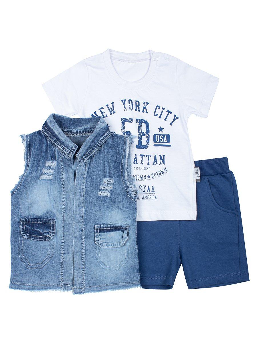 Комплект для мальчика: футболка, шорты и джинсовый жилет
