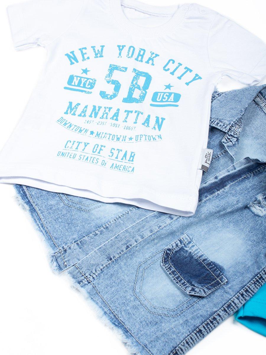 Комплект для мальчика: футболка, шорты и джинсовый жилет, цвет: бирюзовый