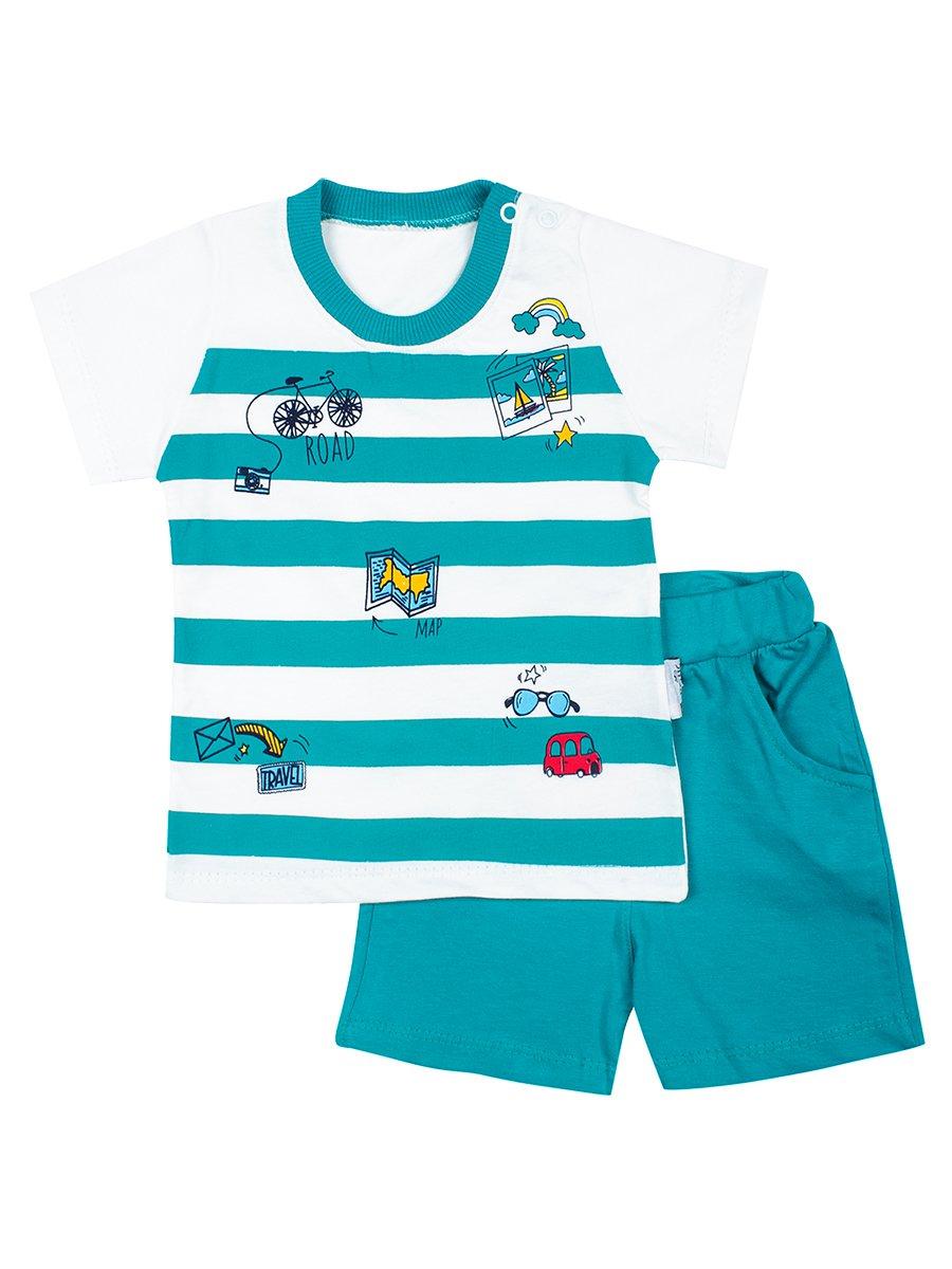 Комплект для мальчика: футболка и шорты, цвет: изумрудный