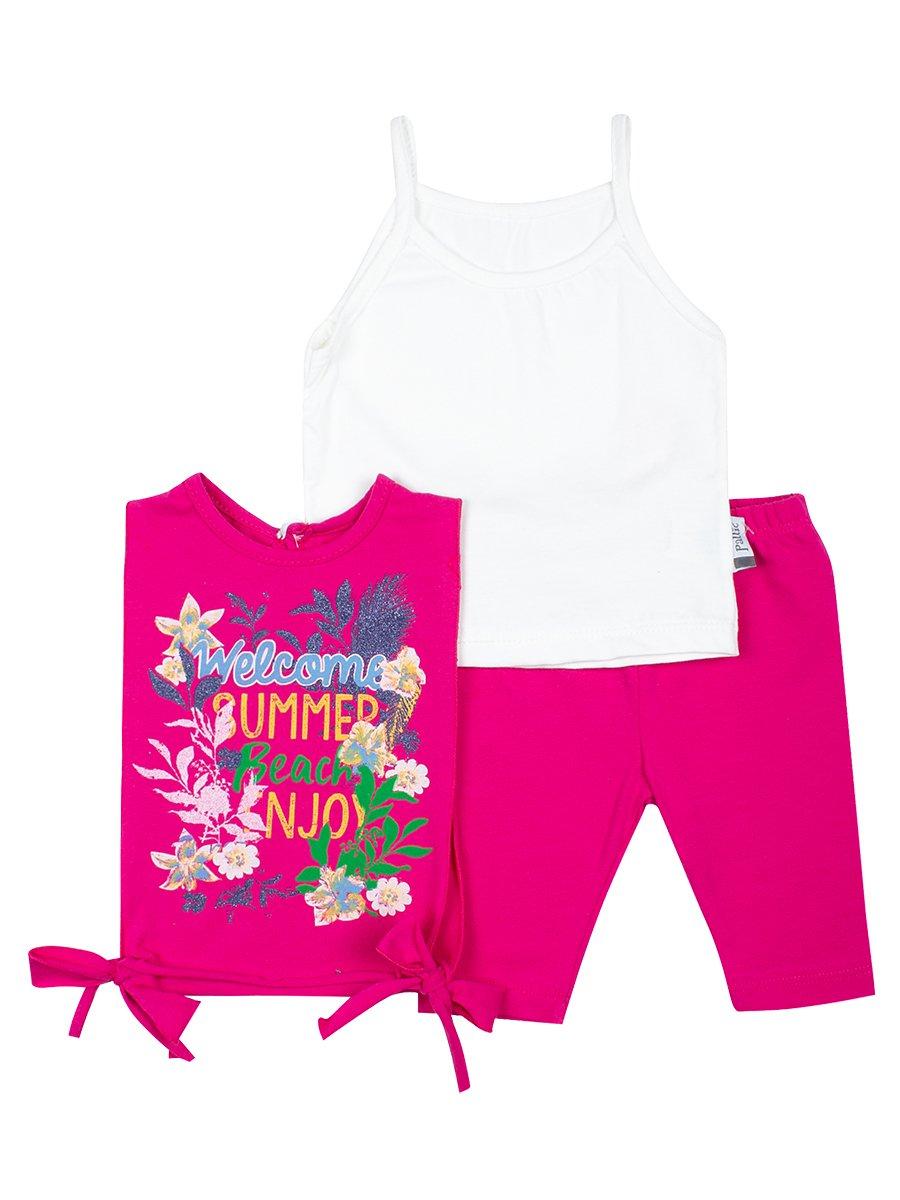 Комплект для девочки: майка, топ и капри, цвет: малиновый