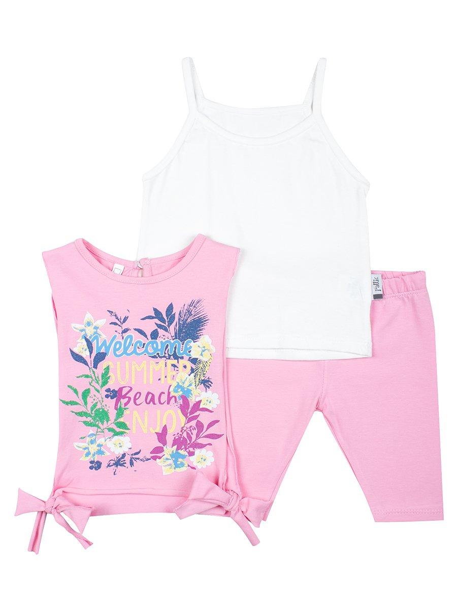 Комплект для девочки: майка, топ и капри, цвет: светло-розовый