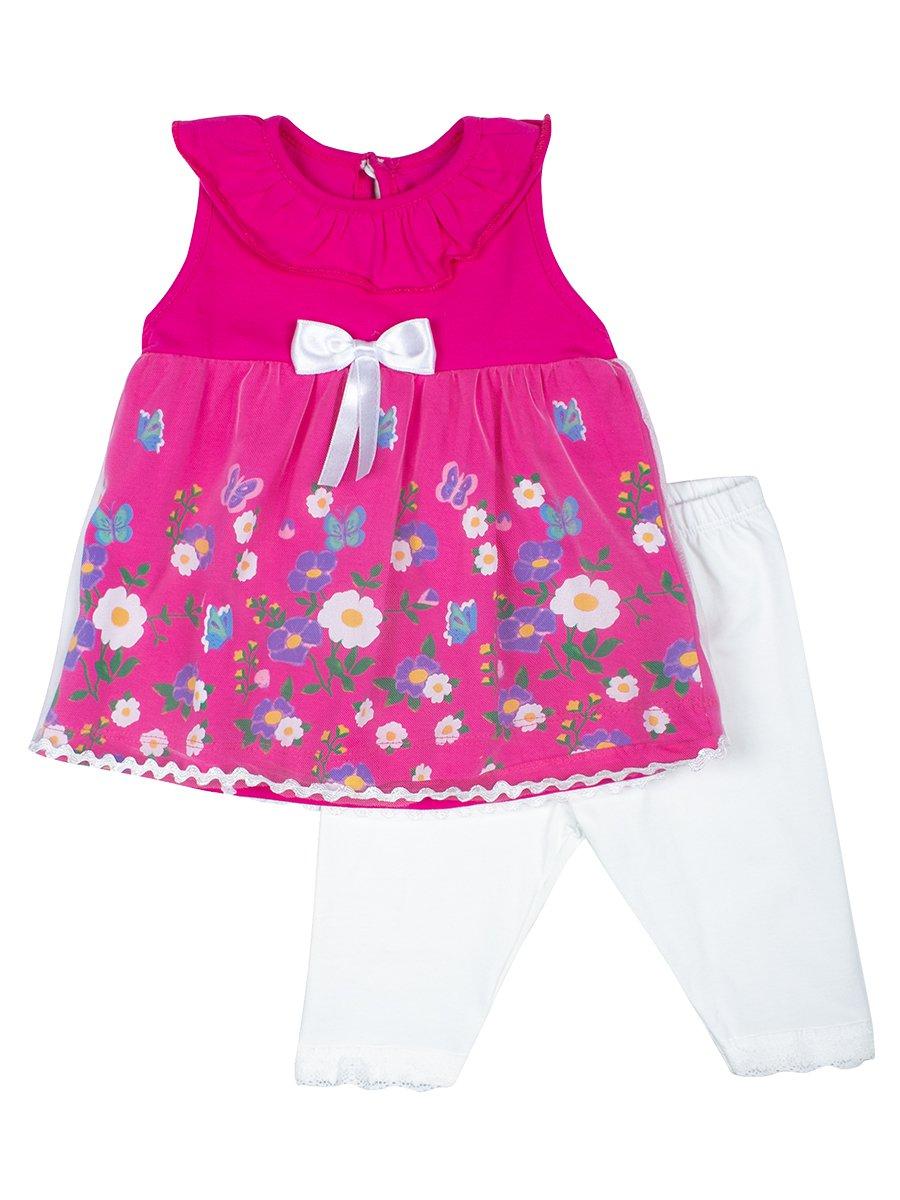 Комплект для девочки: туника и капри, цвет: малиновый