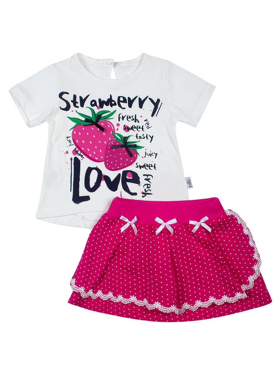 Комплект для девочки: футболка и юбка, цвет: малиновый
