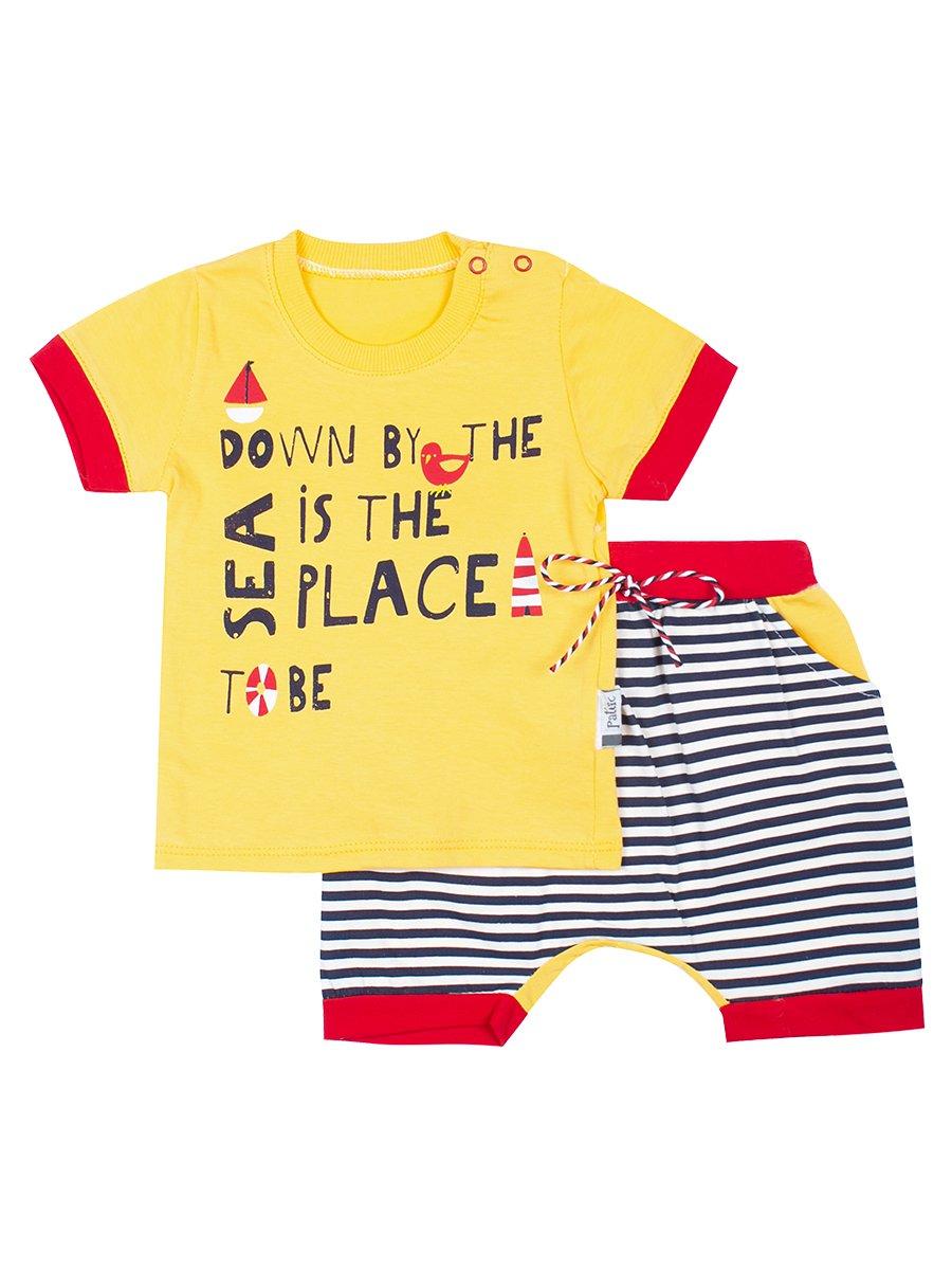 Комплект для мальчика: футболка и шортики, цвет: желтый