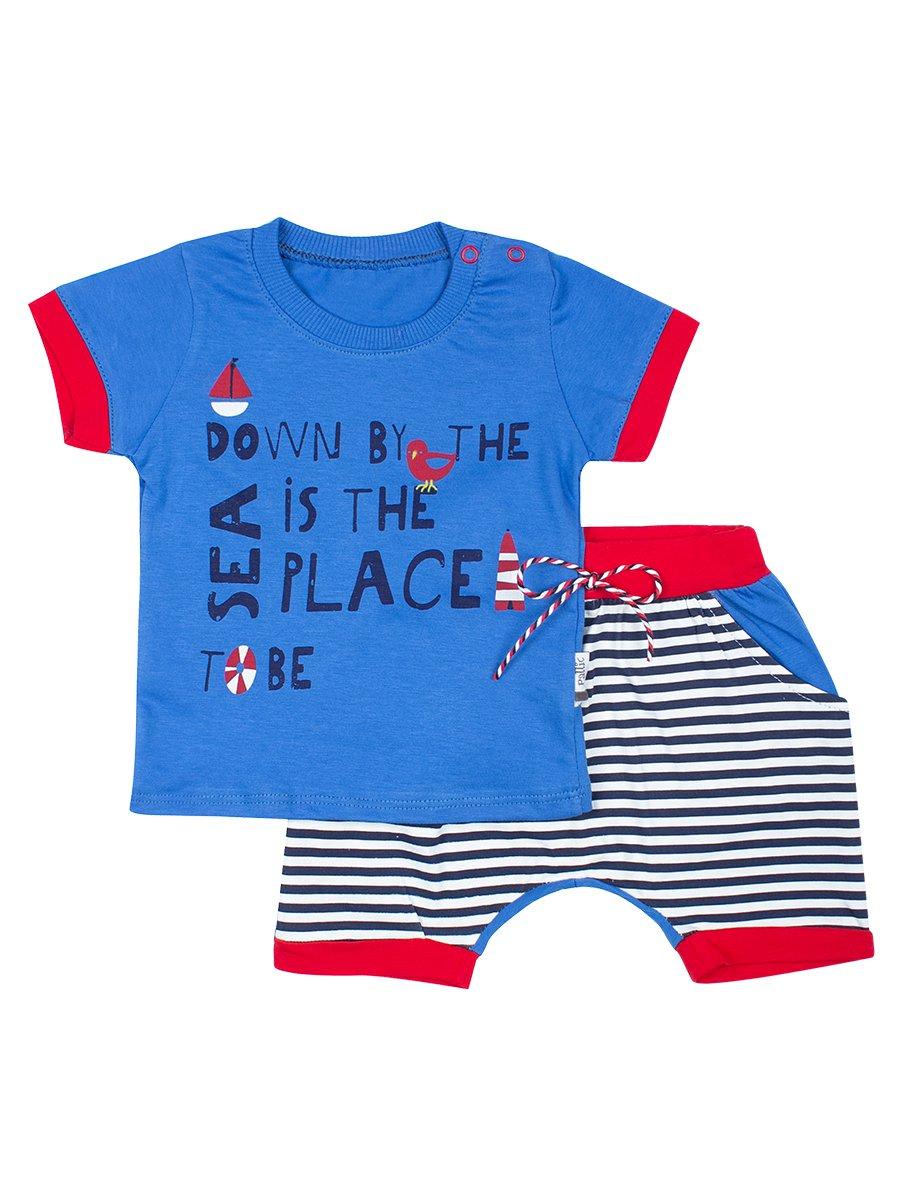 Комплект для мальчика: футболка и шортики, цвет: синий