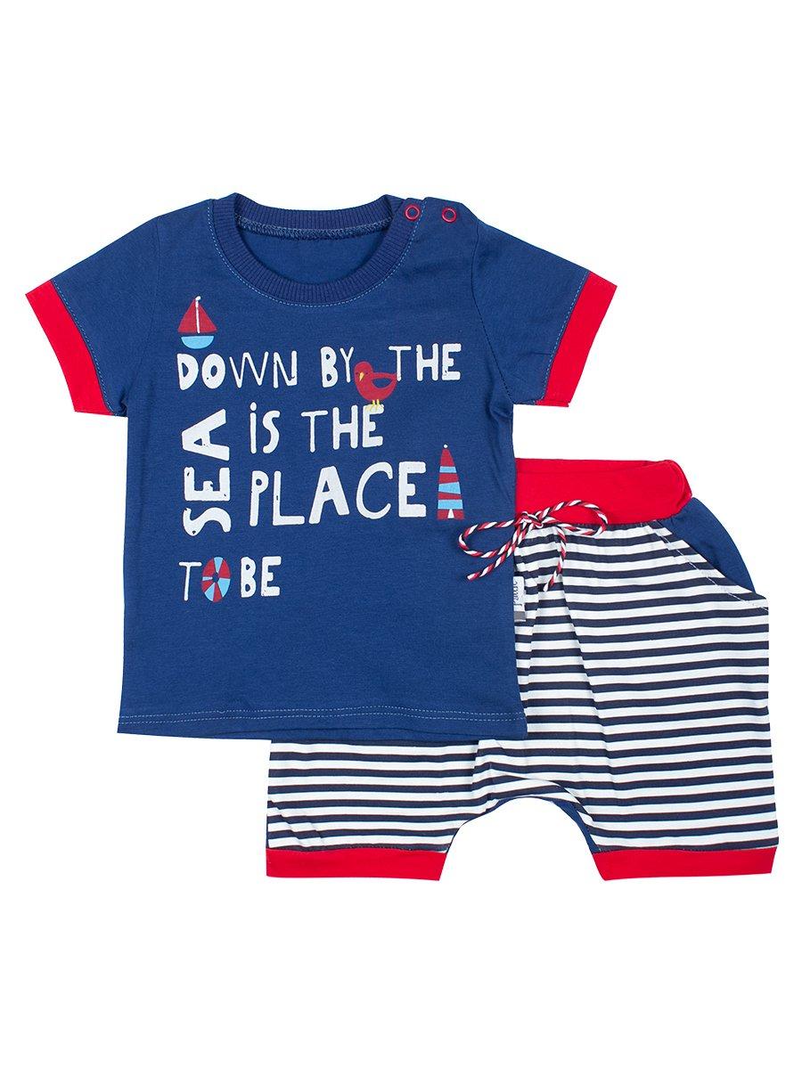 Комплект для мальчика: футболка и шортики, цвет: деним