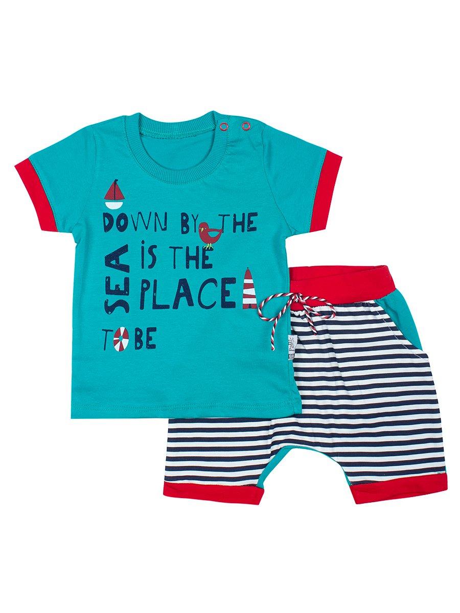 Комплект для мальчика: футболка и шортики, цвет: изумрудный