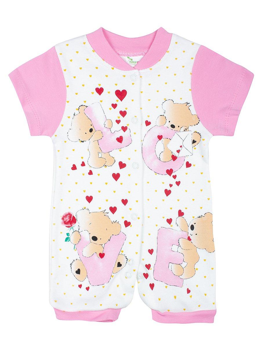 Боди(песочник) для девочки, цвет: светло-розовый