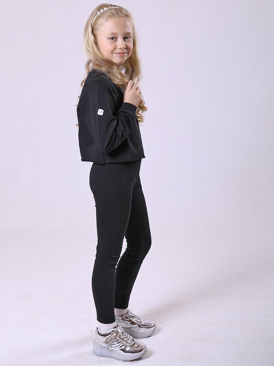 Костюм спортивный:свитшот укороченный и леггинсы с лампасами, цвет: черный