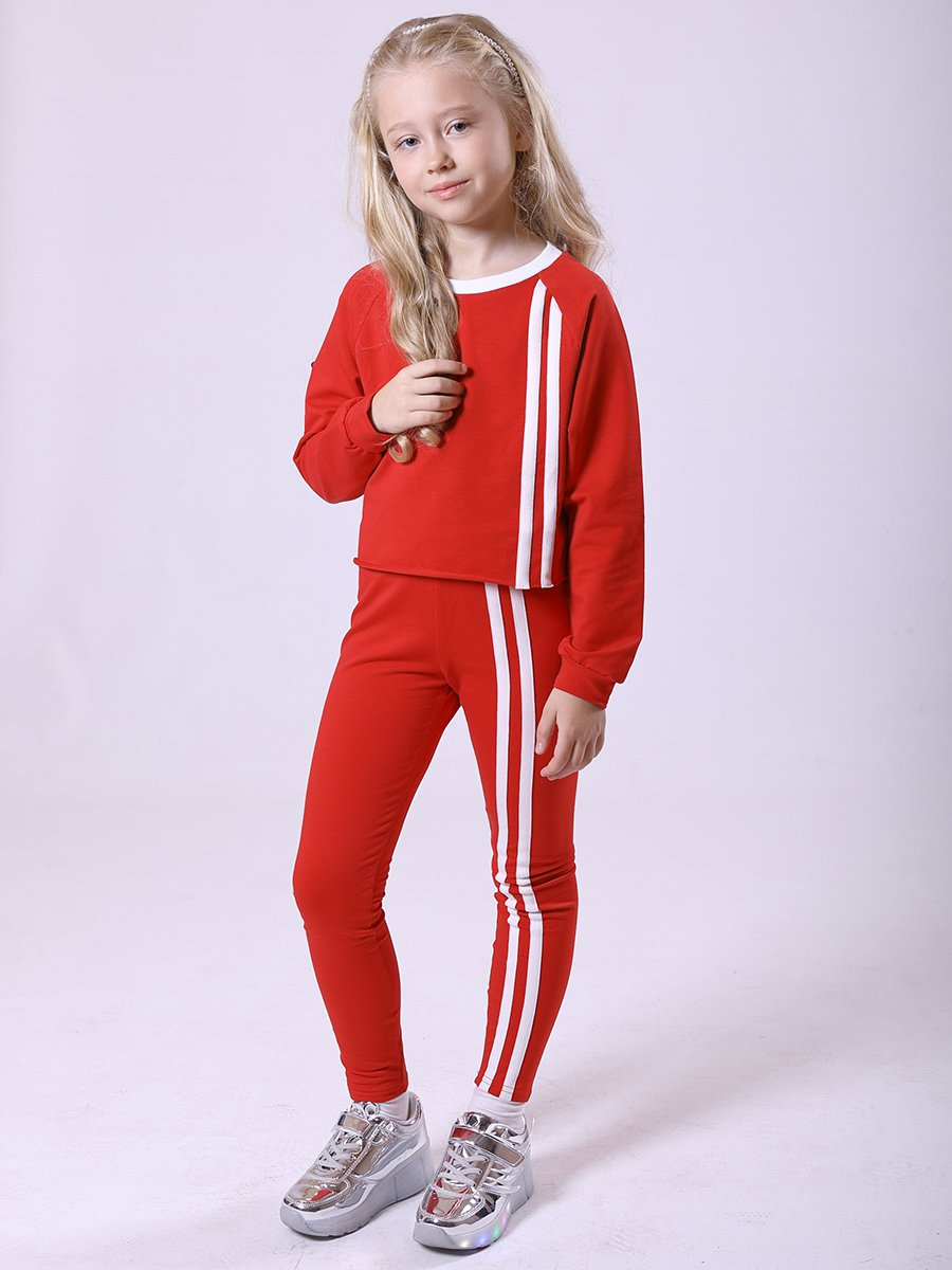 Костюм спортивный:свитшот укороченный и леггинсы с лампасами, цвет: красный