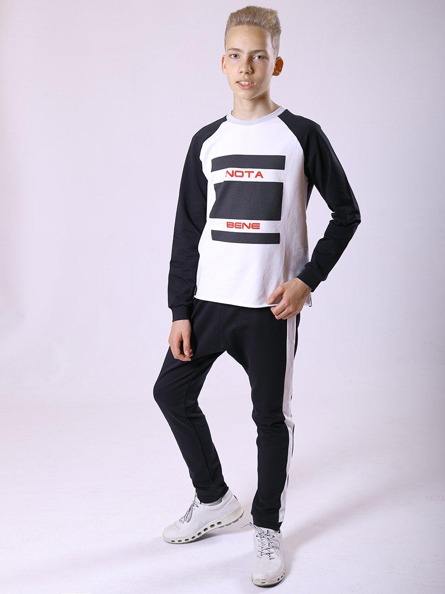 Костюм спортивный: свитшот и брюки-джоггеры, цвет: белый