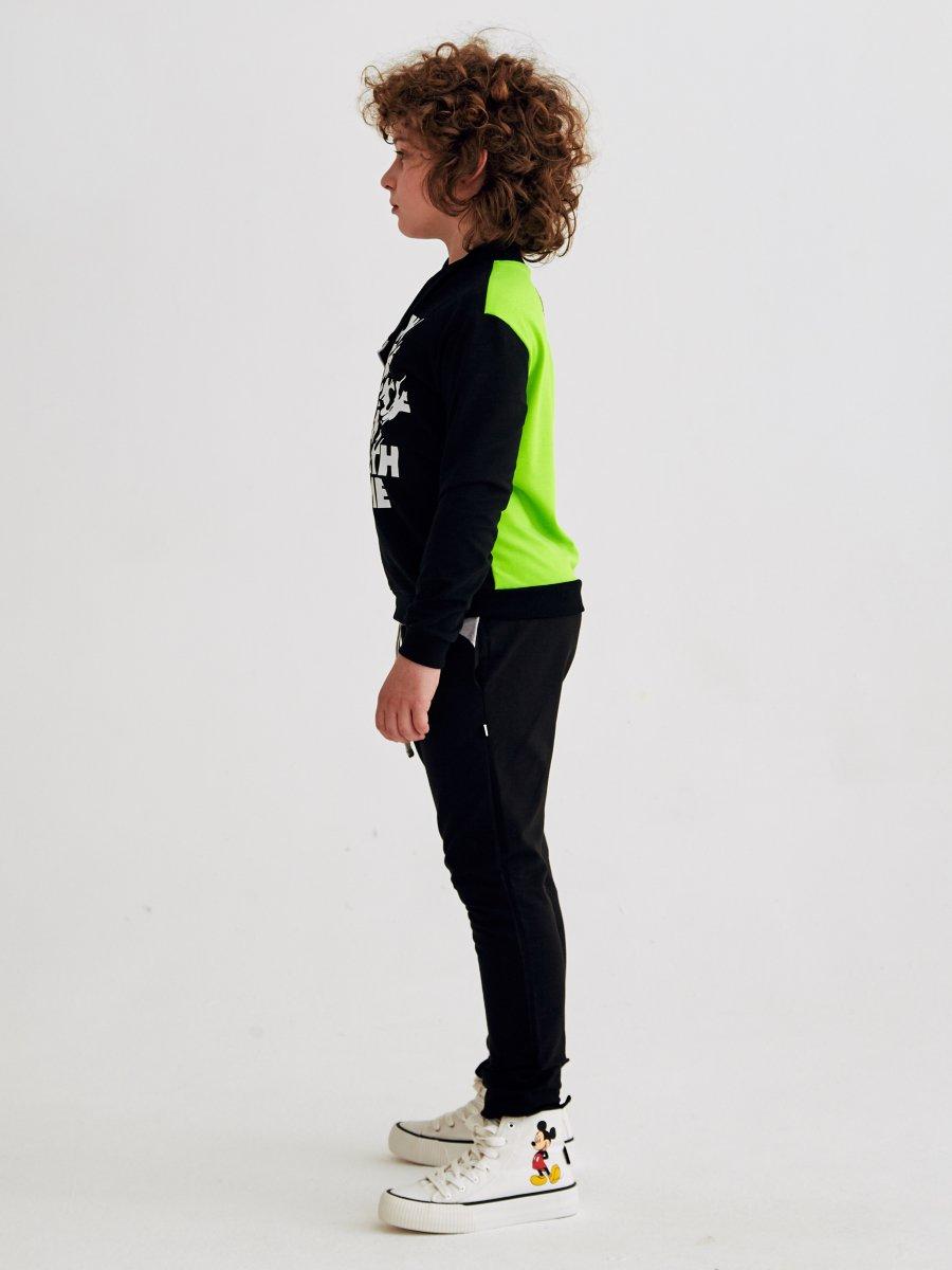 Брюки спортивные зауженные по низу на манжете для мальчика, цвет: темно-серый