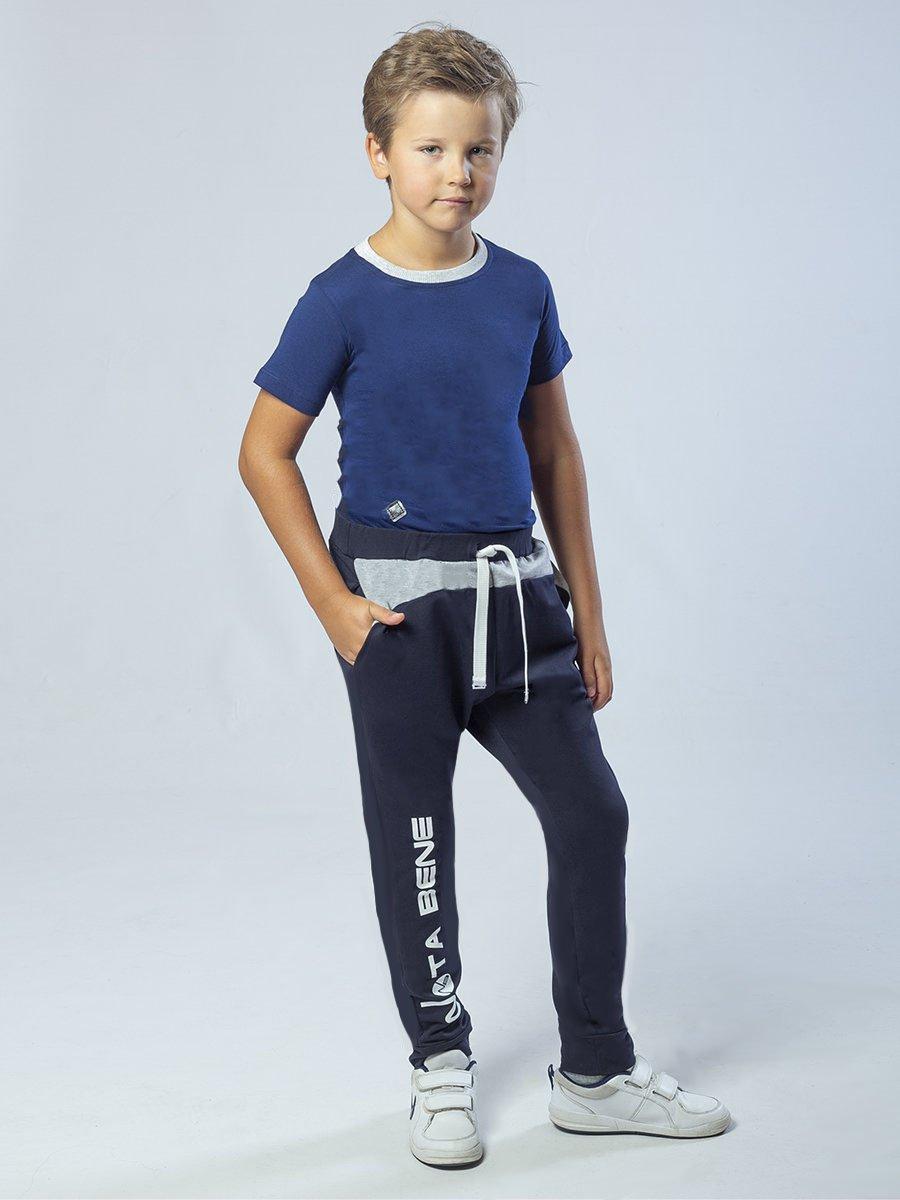 Брюки спортивные зауженные по низу на манжете для мальчика, цвет: темно-синий